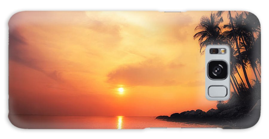 Palm Galaxy S8 Case featuring the photograph Amazing Colors Of Tropical Sunset by Perfect Lazybones