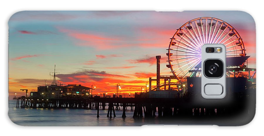 Scenics Galaxy Case featuring the photograph Amusement Park On Waterfront At Night by Blend Images/pete Saloutos