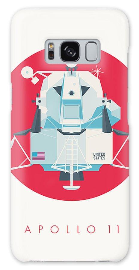 Apollo 11 Galaxy S8 Case featuring the digital art Apollo Lunar Module Lander Minimal - Text Crimson by Ivan Krpan