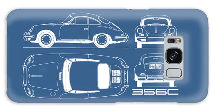 Porsche Galaxy Case featuring the photograph Porsche 356 C Blueprint by Mark Rogan