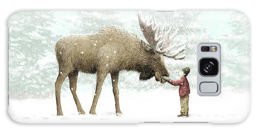 Moose Galaxy Case featuring the drawing Winter Moose by Eric Fan