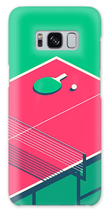 Table Galaxy S8 Case featuring the digital art Table Tennis Table Isometric - Green by Ivan Krpan