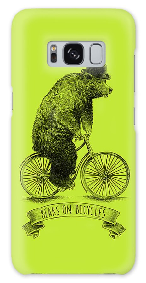 Bear Galaxy S8 Case featuring the drawing Bears On Bicycles - Lime by Eric Fan