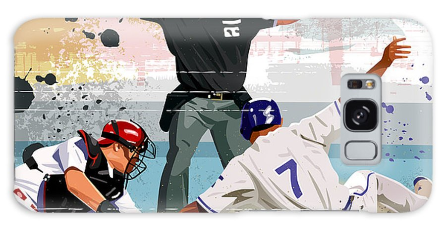 Helmet Galaxy Case featuring the digital art Baseball Player Safe At Home Plate by Greg Paprocki