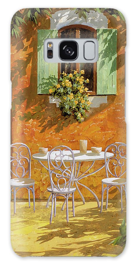 White Table Galaxy S8 Case featuring the painting Bianco Su Giallo by Guido Borelli