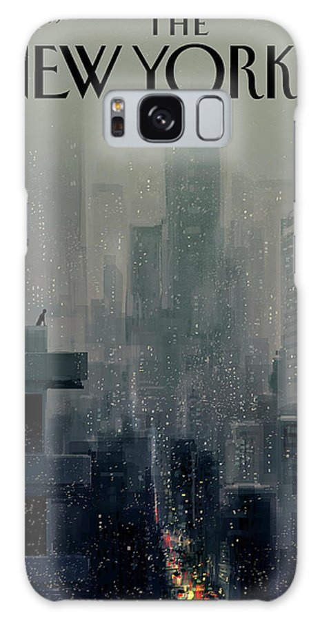 Cityscape On A Wintery Evening With A Silhouette Of A Person On A Rooftop Galaxy S8 Case featuring the painting Big City by Pascal Campion