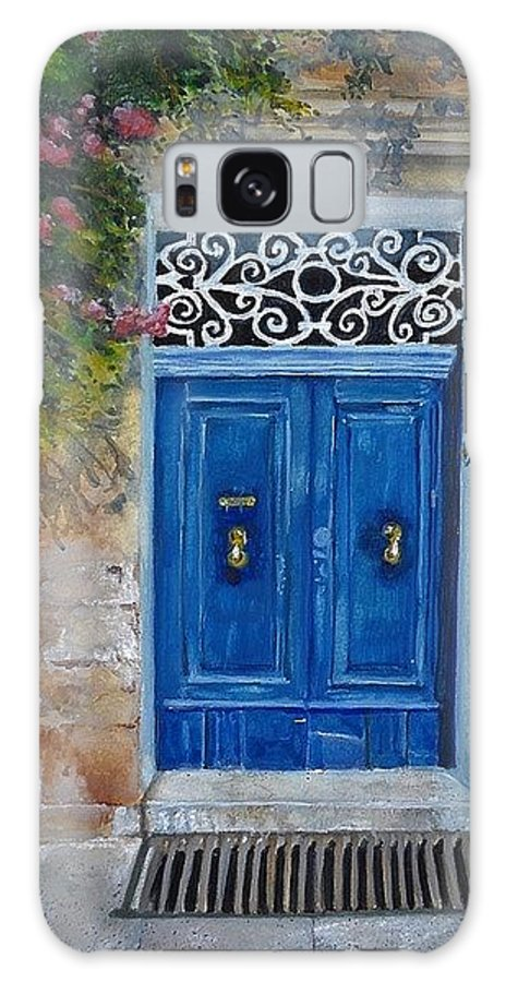 Malta Galaxy Case featuring the painting Blue Door Malta by Lisa Cini