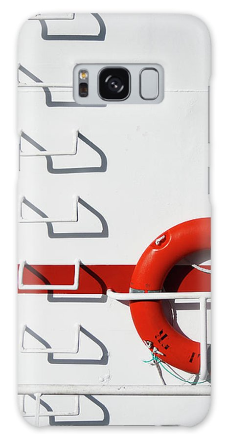 Steps Galaxy Case featuring the photograph Boat Detail With Lifebuoy And Steps by Stuart Paton