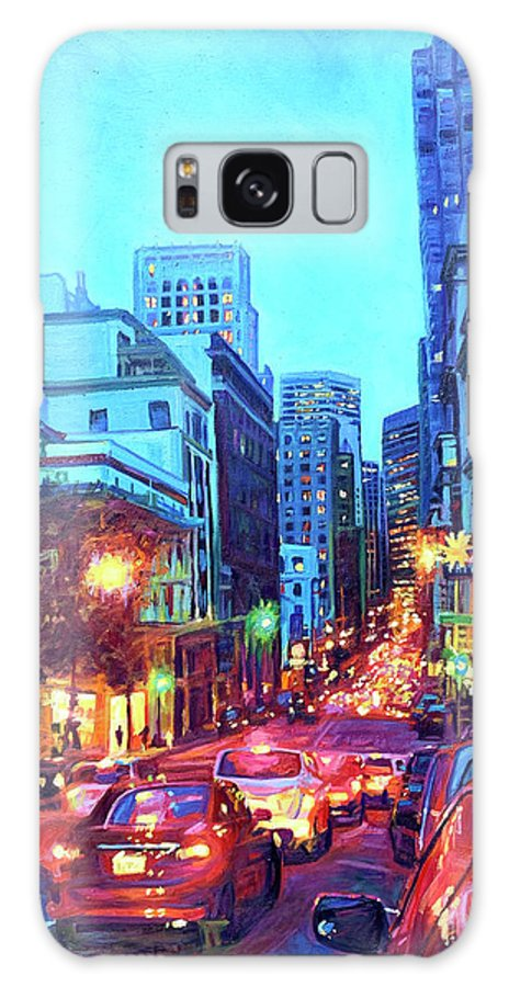 Cityscape Galaxy Case featuring the painting Bright Lights, Big City by Bonnie Lambert