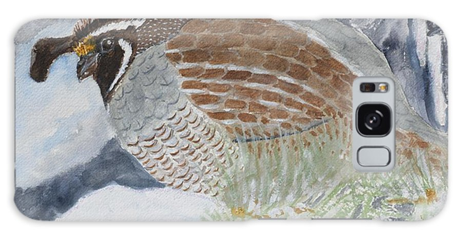 Bird Galaxy S8 Case featuring the painting CA Mountain Quail by Patricia Novack