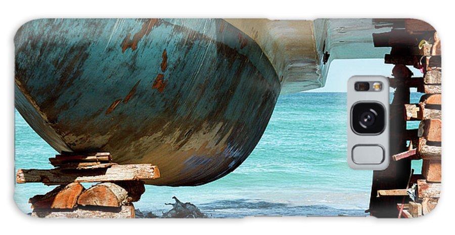 Freight Transportation Galaxy Case featuring the photograph Catamaran Repair On Beach In Jamaica by Joseph X. Burke Analog Photography