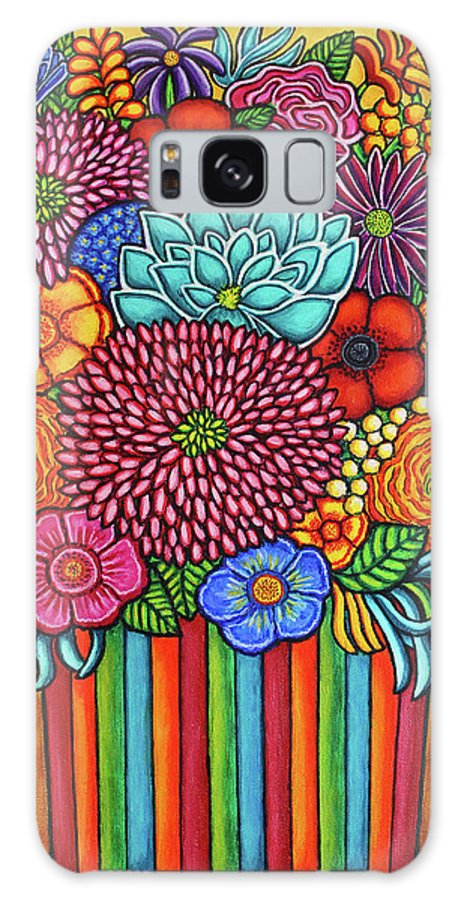 Flowers Galaxy Case featuring the painting Celebration Rainbow Bouquet by Lisa Lorenz