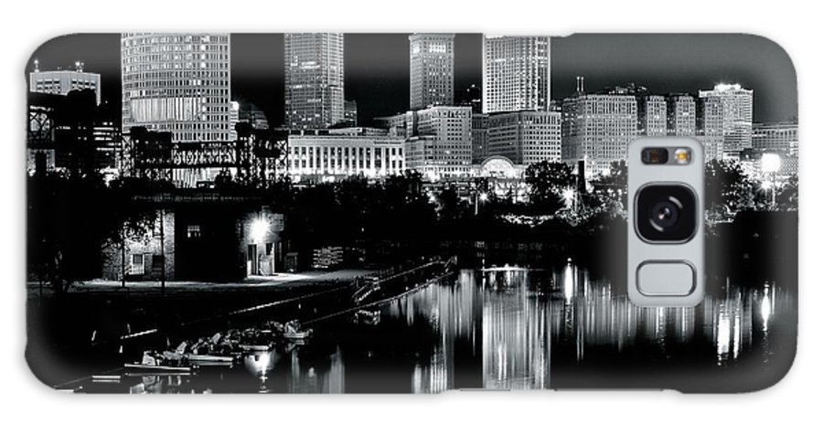 Cleveland Galaxy Case featuring the photograph Charcoal Night View of Cleveland by Frozen in Time Fine Art Photography