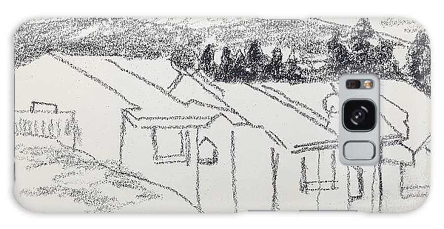 Pencil Galaxy Case featuring the drawing Charcoal Pencil Houses1.jpg by Suzanne Cerny