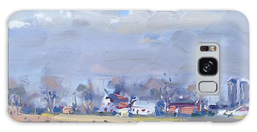 Cloudy Day Galaxy Case featuring the painting Cloudy Day At The Farm by Ylli Haruni