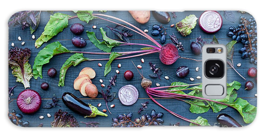 Salad Galaxy Case featuring the photograph Collection Of Fresh Purple Fruit And by Kateryna Sednieva