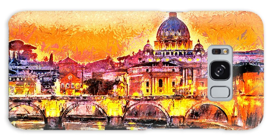 Capital Galaxy Case featuring the digital art Colorful Illuminated San Peter Basilica by Ivan Aleshin