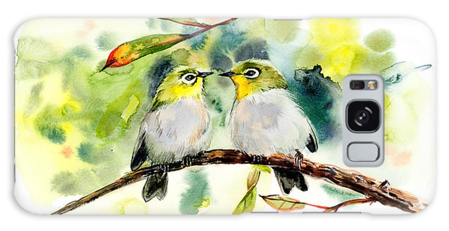 Small Galaxy S8 Case featuring the digital art Couple Of Little Green Birdies by Marya Kutuzova