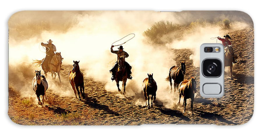 Racing Galaxy Case featuring the photograph Cowboys Chasing Wilding Horses. Roping by Jeanne Provost