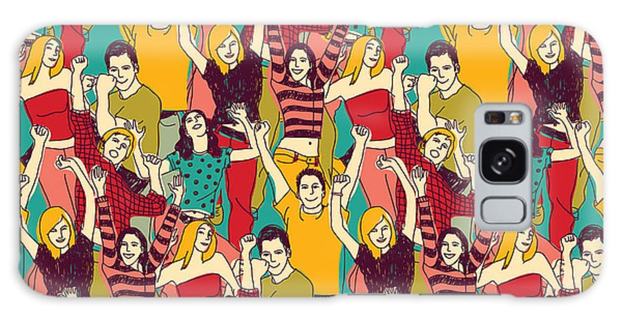 Big Galaxy S8 Case featuring the digital art Crowd Active Happy People Seamless by Chief Crow Daria