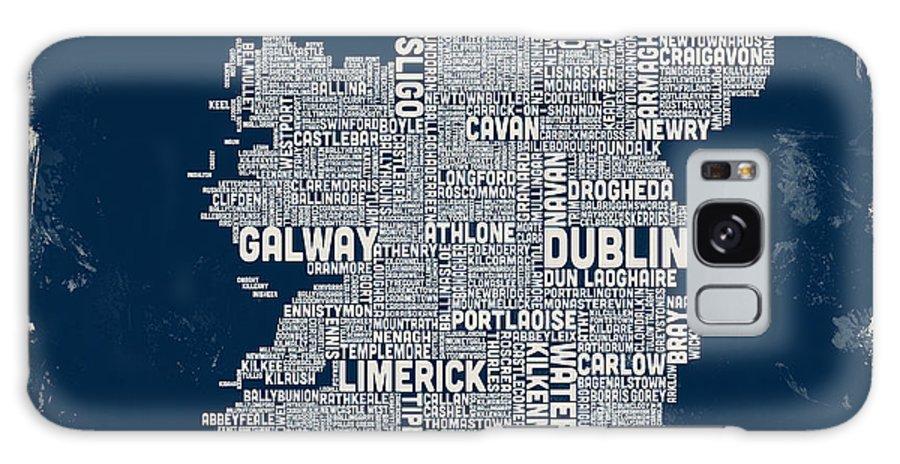 Ireland Map Galaxy S8 Case featuring the digital art Custom Ireland City Text Map by Michael Tompsett