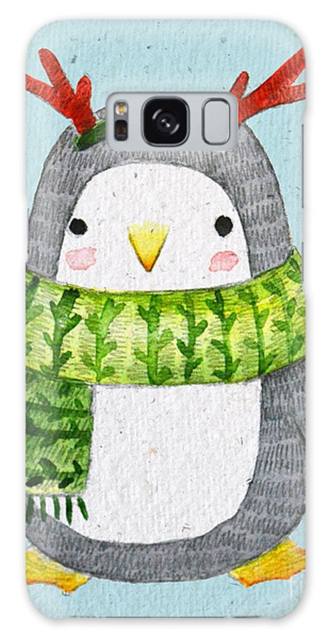 Year Galaxy S8 Case featuring the digital art Cute Penguin In Scarf. Watercolor by Maria Sem