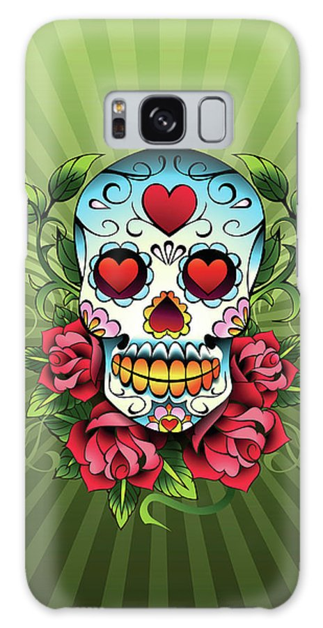 Horror Galaxy Case featuring the digital art Day Of The Dead Skull by New Vision Technologies Inc