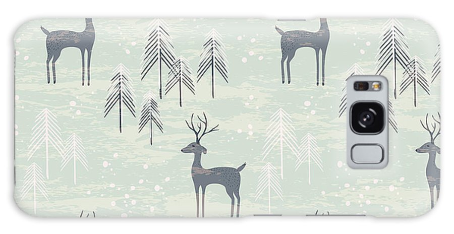 Gift Galaxy S8 Case featuring the digital art Deer In Winter Pine Forest. Seamless by Lidiebug
