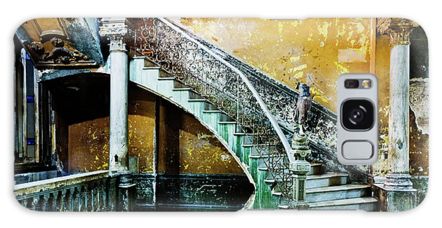 Majestic Galaxy Case featuring the photograph Dilapidated, Ornate Stairway by Pixelchrome Inc