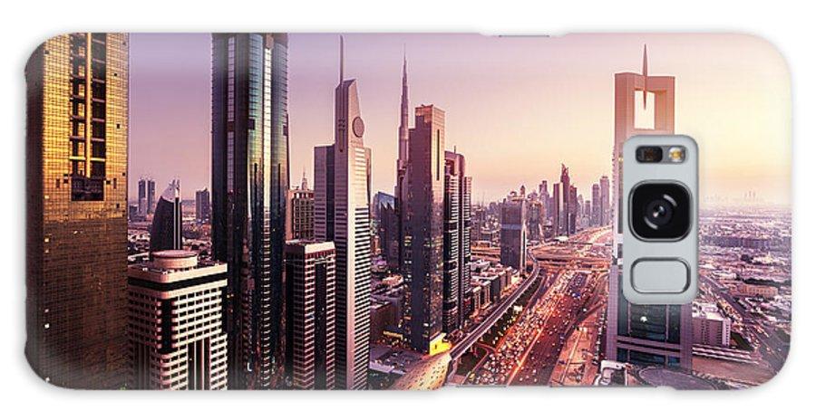Sunrise Galaxy S8 Case featuring the photograph Dubai Skyline In Sunset Time, United by Iakov Kalinin