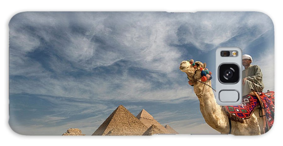 Working Animal Galaxy Case featuring the photograph Egypt, Giza, Man Sitting On Camel by Frans Lemmens