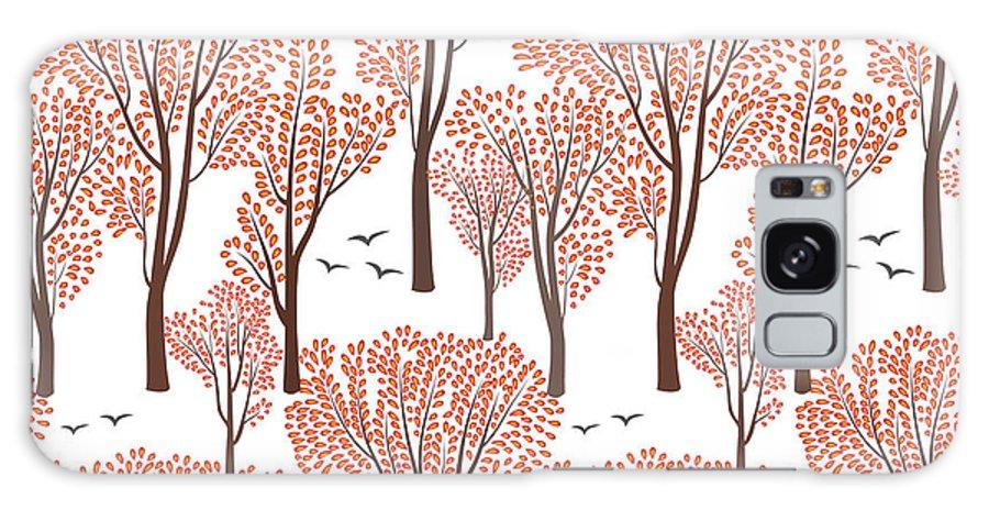 Beauty Galaxy S8 Case featuring the digital art Fall Nature Wildlife Seamless Pattern by Yoko Design