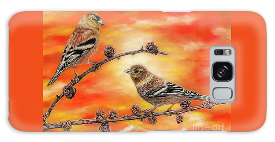 American Goldfinch Galaxy S8 Case featuring the painting Femal American Goldfinch by Peter Piatt