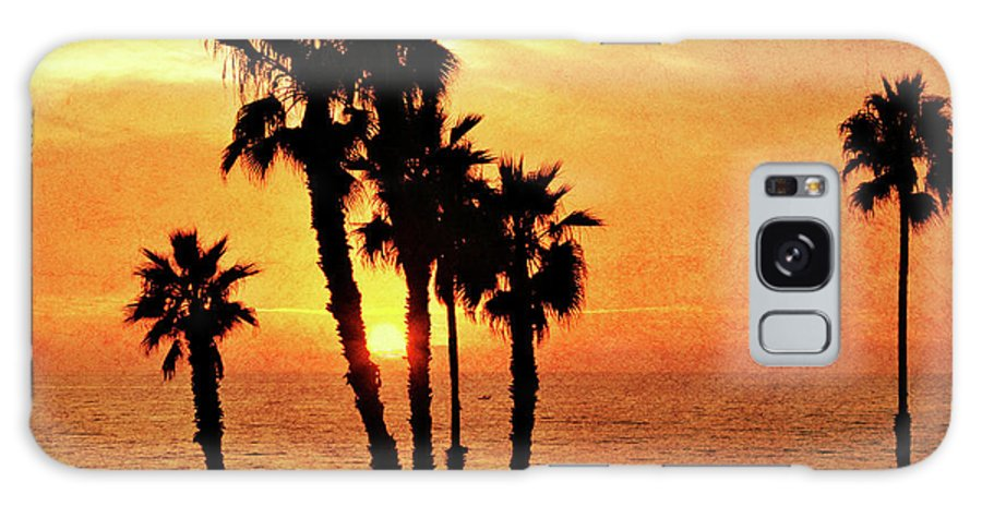 Gabriele Pomykaj; Fiery; Sunset; California; Scenic; Horizon; Silhouette; Palm; Beach; Tree; Scene; Spectacular; Vacation; Vivid;color Galaxy S8 Case featuring the photograph Fiery California Sunset Oceanside Beach by Gabriele Pomykaj