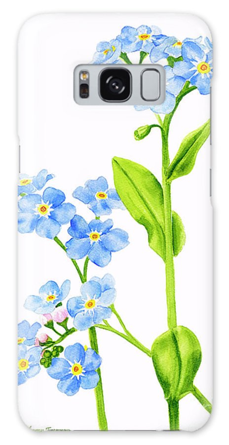 Forget Me Nots Galaxy S8 Case featuring the painting Forget-me-nots On White by Sharon Freeman