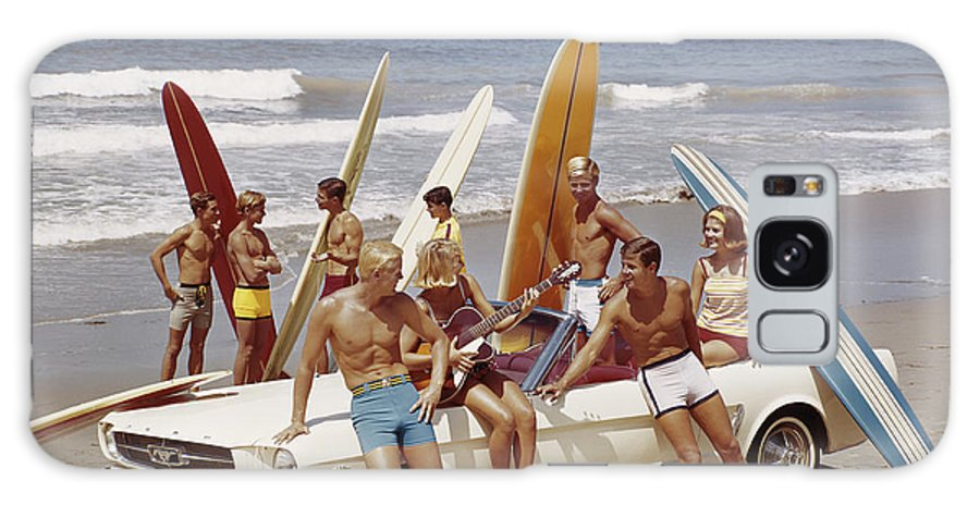 Young Men Galaxy Case featuring the photograph Friends Having Fun On Beach by Tom Kelley Archive