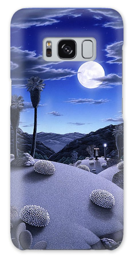 Desert Galaxy Case featuring the painting Full Moon Rising by Snake Jagger