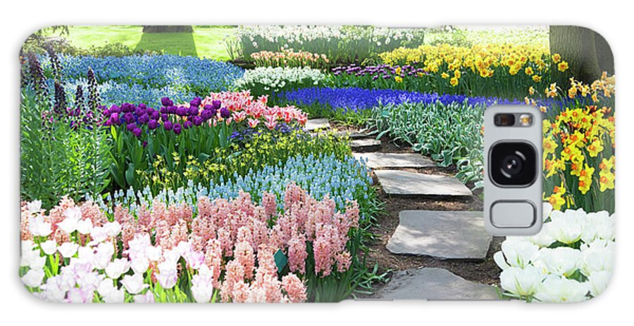Flowerbed Galaxy Case featuring the photograph Garden Flowers 53 Xxxl by Lya cattel