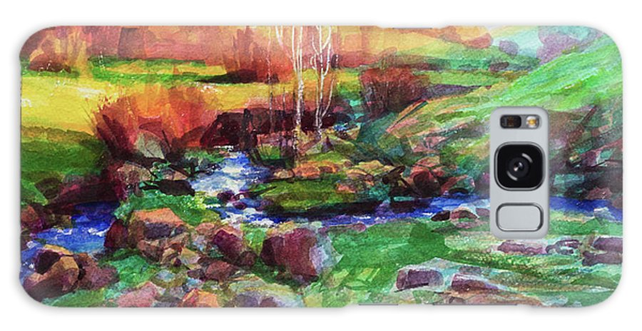 Landscape Galaxy Case featuring the painting Gilded Hillside by Steve Henderson