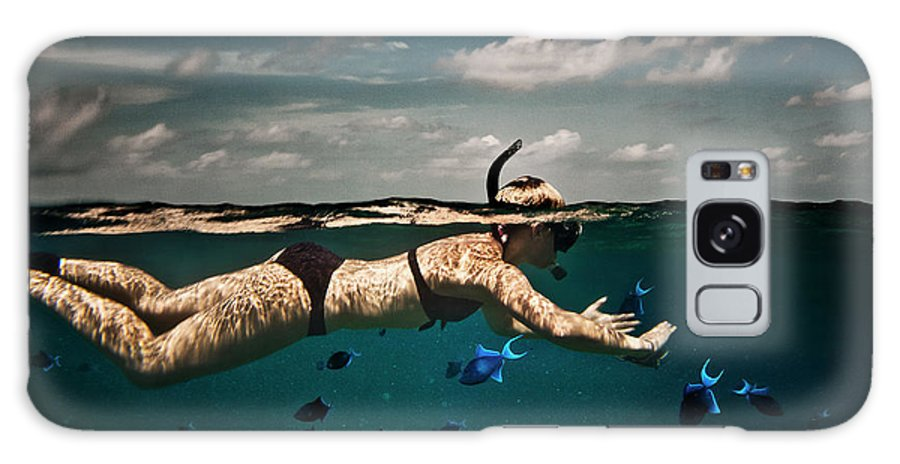 People Galaxy Case featuring the photograph Girl Snorkelling In Indian Ocean by Rjw