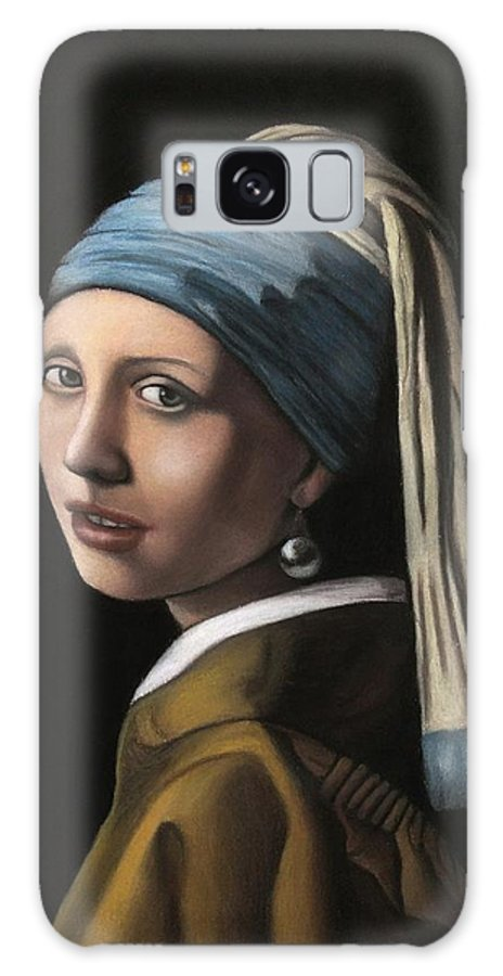 Girl With A Pearl Earring Galaxy S8 Case featuring the pastel Girl With A Pearl Earring by Vishvesh Tadsare