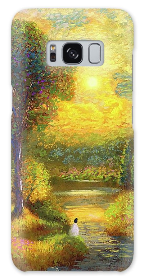 Meditation Galaxy S8 Case featuring the painting Golden Peace by Jane Small