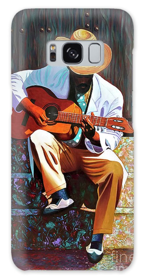 Cuban Galaxy Case featuring the painting Guitar player #3 by Jose Manuel Abraham