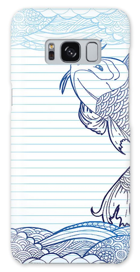 Sky Galaxy S8 Case featuring the digital art Hand Drawn Koi And Waves On Lined Paper by Artplay