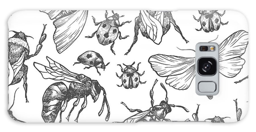 Bee Galaxy Case featuring the digital art Hand Drawn Vector Pattern With Insects by Olga Olmix