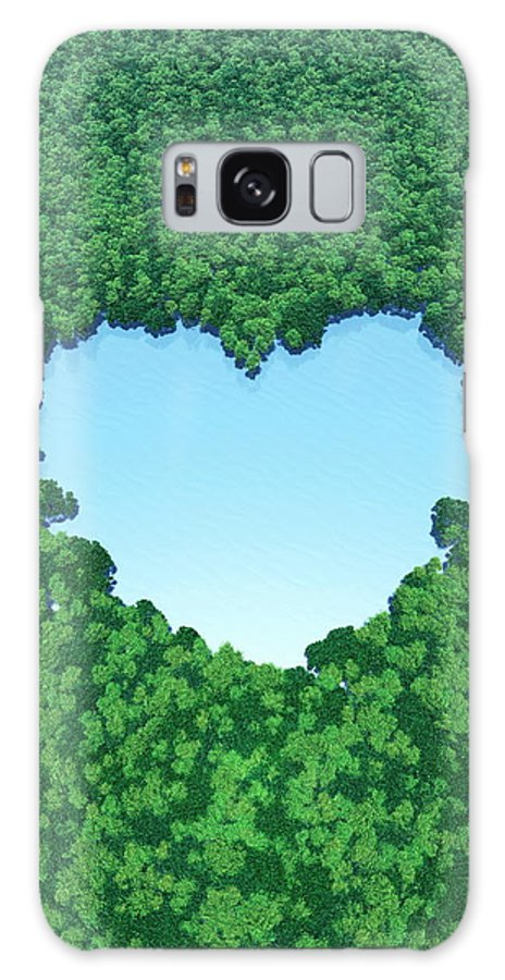 Environmental Conservation Galaxy Case featuring the digital art Heart Shaped Lake In Forest by I-works/amanaimagesrf