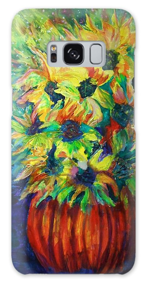 Flowers Galaxy Case featuring the painting Flowers For Vincent by Carolyn LeGrand