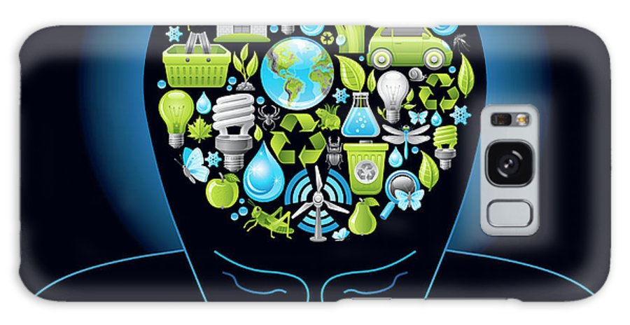 Expertise Galaxy Case featuring the digital art Human Head With Ecological Symbols In by O-che