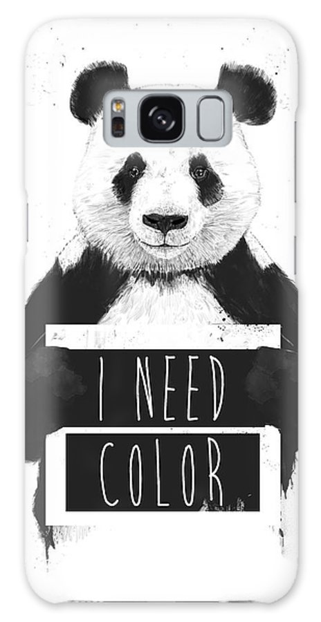 Panda Galaxy Case featuring the mixed media I Need Color by Balazs Solti
