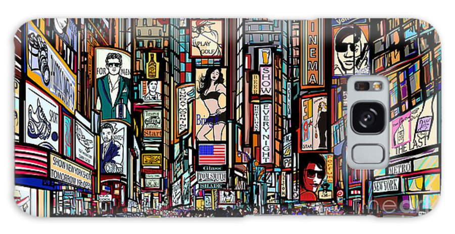 Couple Galaxy S8 Case featuring the digital art Illustration Of A Street In New York by Isaxar